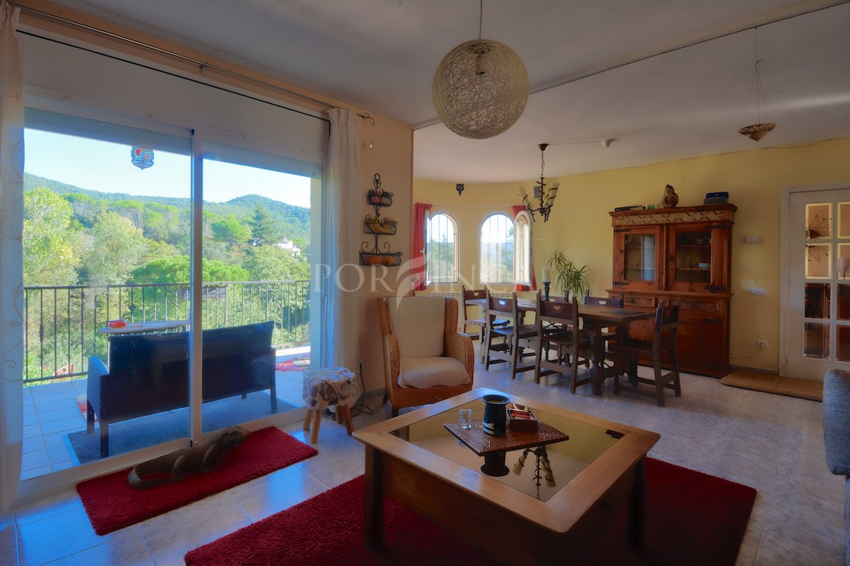 Living room of villa with mountain view in Vall Repos Costa Brava